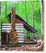 Log Cabin V Wood Print