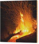 Log Campfire Burning At Night Wood Print