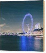 London Cityscape On River Thames Wood Print