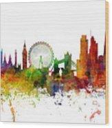 London England Skyline Panoramic Wood Print