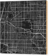 Long Beach California Usa Dark Map Wood Print