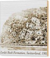 Lorelei Rock Formation, Switzerland, 1903 Wood Print