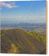 Los Angeles Ca Skyline Runyon Canyon Hiking Trail Wood Print