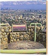 Los Angeles Skyline From Mulholland Wood Print