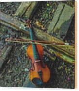 Lost Violin Wood Print