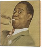 Louis Armstrong, Music Legend Wood Print
