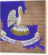 Louisiana Rustic Map On Wood Wood Print