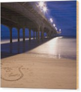 Love Heart In The Sand At Boscombe Pier Wood Print