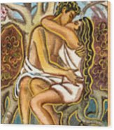 Lovers Kissing Each Other Under A Blooming Tree Wood Print by Vasile Movileanu