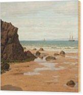 Low Tide At The Ris Beach Wood Print