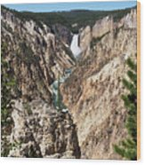 Lower Falls From Artist Point In Yellowstone National Park Wood Print