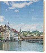 Lucerne Chapel Bridge And Water Tower - Panoramic Wood Print