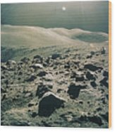 Lunar Rover At Rim Of Camelot Crater Wood Print