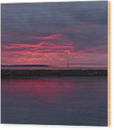 Mackinac Bridge Sunset Wood Print
