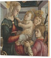 Madonna And Child With Angels Wood Print