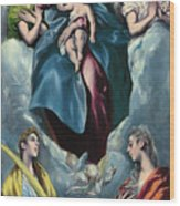 Madonna And Child With Saint Martina And Saint Agnes Wood Print