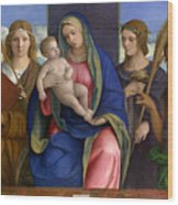 Madonna And Child With Saints Wood Print