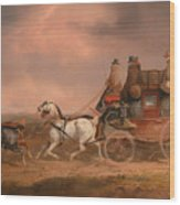 Mail Coaches On The Road Wood Print