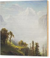 Majesty Of The Mountains Wood Print by Albert Bierstadt