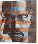 Malcolmx Wood Print by Paul Lovering