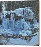 Maligne Canyon Frozen Wood Print