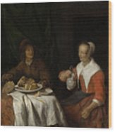 Man And Woman At A Meal Wood Print