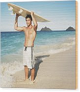 Man At The Beach With Surfboard Wood Print