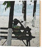 Man On Beach Wood Print