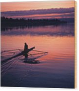 Man Rowing On Montlake Cut Wood Print