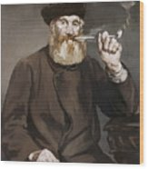 Man Smoking A Pipe Wood Print