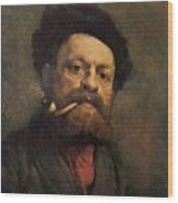 Man With A Pipe Wood Print