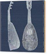 Mandolin Blue Musical Instrument Wood Print