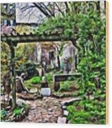 Manhattan Community Garden Wood Print
