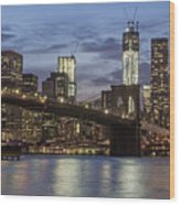 Manhattan Skyline New York Wood Print