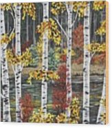Manitoba Birch  Wood Print by Lynn Huttinga