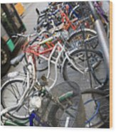 Many Bikes Wood Print