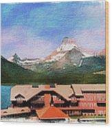 Many Glacier Hotel Panorama Wood Print