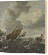 Maritime Scene With Stormy Seas Wood Print