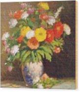 Market Flowers Impression Wood Print