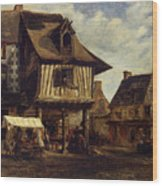 Market-place In Normandy Wood Print