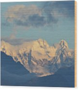Massive Snow Caped Mountains In The Countryside Of Italy  Wood Print