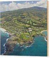 Maui Aerial Of Kapalua Wood Print by Ron Dahlquist - Printscapes