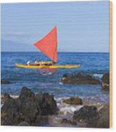 Maui Sailing Canoe Wood Print