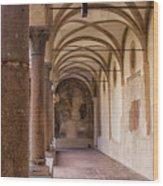Medieval Hallway Of Italian Cloister Wood Print