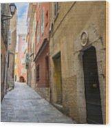 Medieval Street In Villefranche-sur-mer Wood Print