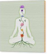 Meditating Woman With Chakras Shown As Flowers  Wood Print