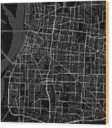 Memphis Tennessee Usa Dark Map Wood Print
