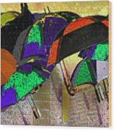 Metro Rains Wood Print