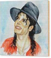 Michael Jackson - Keep The Faith Wood Print by Nicole Wang