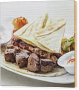 Middle Eastern Food Mixed Bbq Barbecue Grilled Meat Set Meal Wood Print